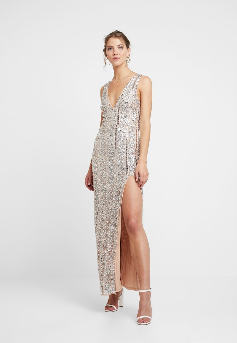 Missguided - PLUNGE EMBELISHED SPLIT LEG MAXI DRESS - Occasion wear - silver
