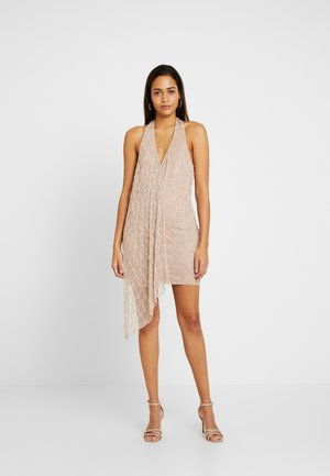 DROP PEARL DRAPE MINI DRESS - Robe de soirée - nude