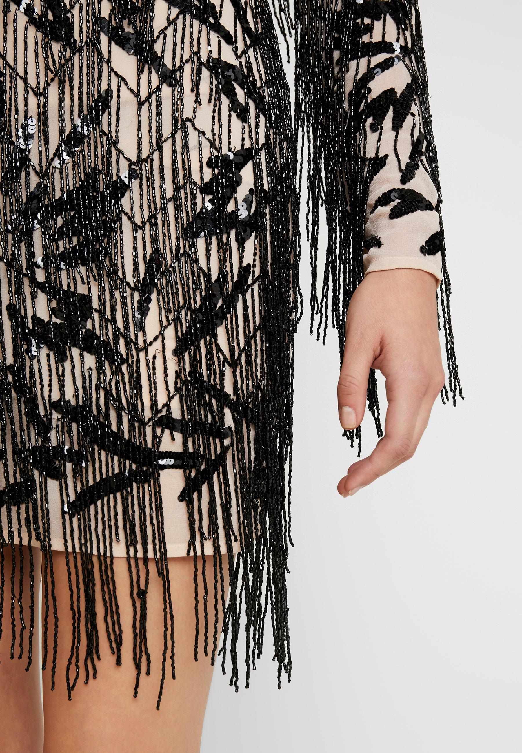 Missguided FRINGED HIGH NECK DRESS - Robe de soirée black