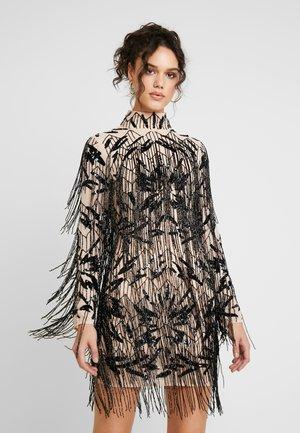 FRINGED HIGH NECK DRESS - Cocktailkjole - black