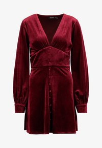 Missguided - LIGHT MAGIC PLUNGE BUTTON FLARED MINI DRESS - Robe d'été - burgundy - 4
