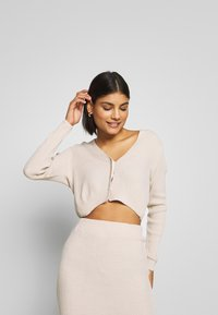 Missguided - CROPPED AND RIBBED KNITTED MIDAXI SKIRT - Cardigan - camel - 0