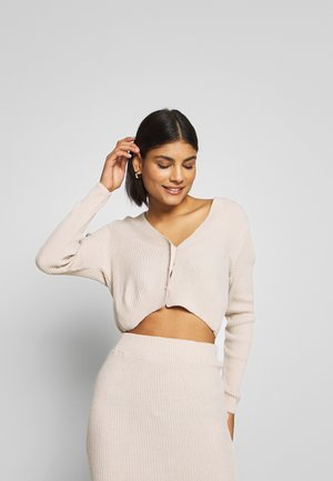 CROPPED AND RIBBED KNITTED MIDAXI SKIRT - Cardigan - camel