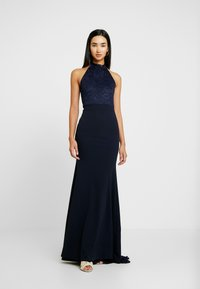 Missguided - BRIDESMAID HALTERNECK FISHTAIL MAXI - Galajurk - navy - 0