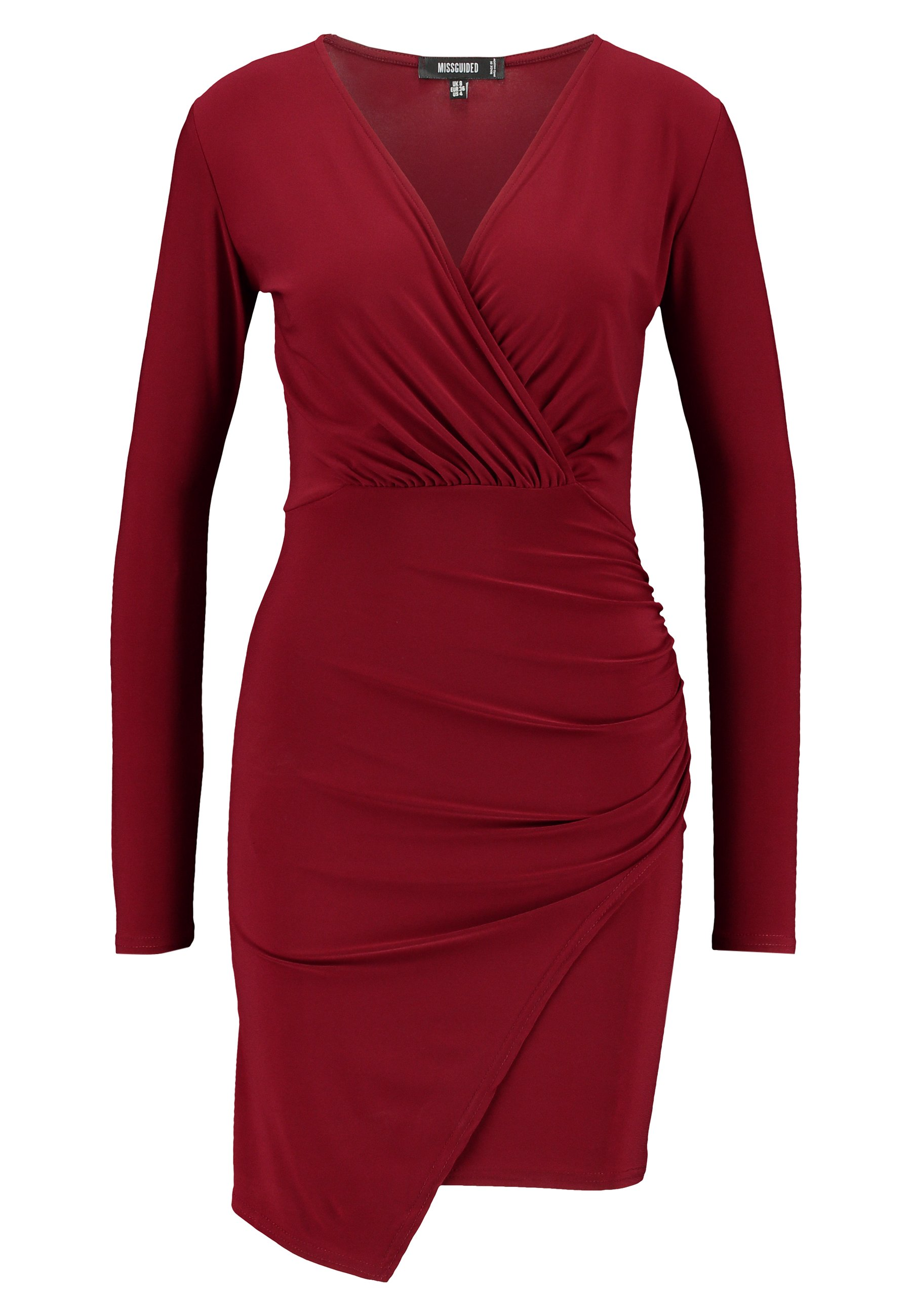 Missguided Slinky Wrap Over Mini Dress - Fodralklänning Burgandy
