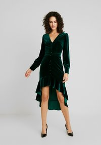 Missguided - BUTTON UP HIGH LOW DRESS - Day dress - emerald - 2