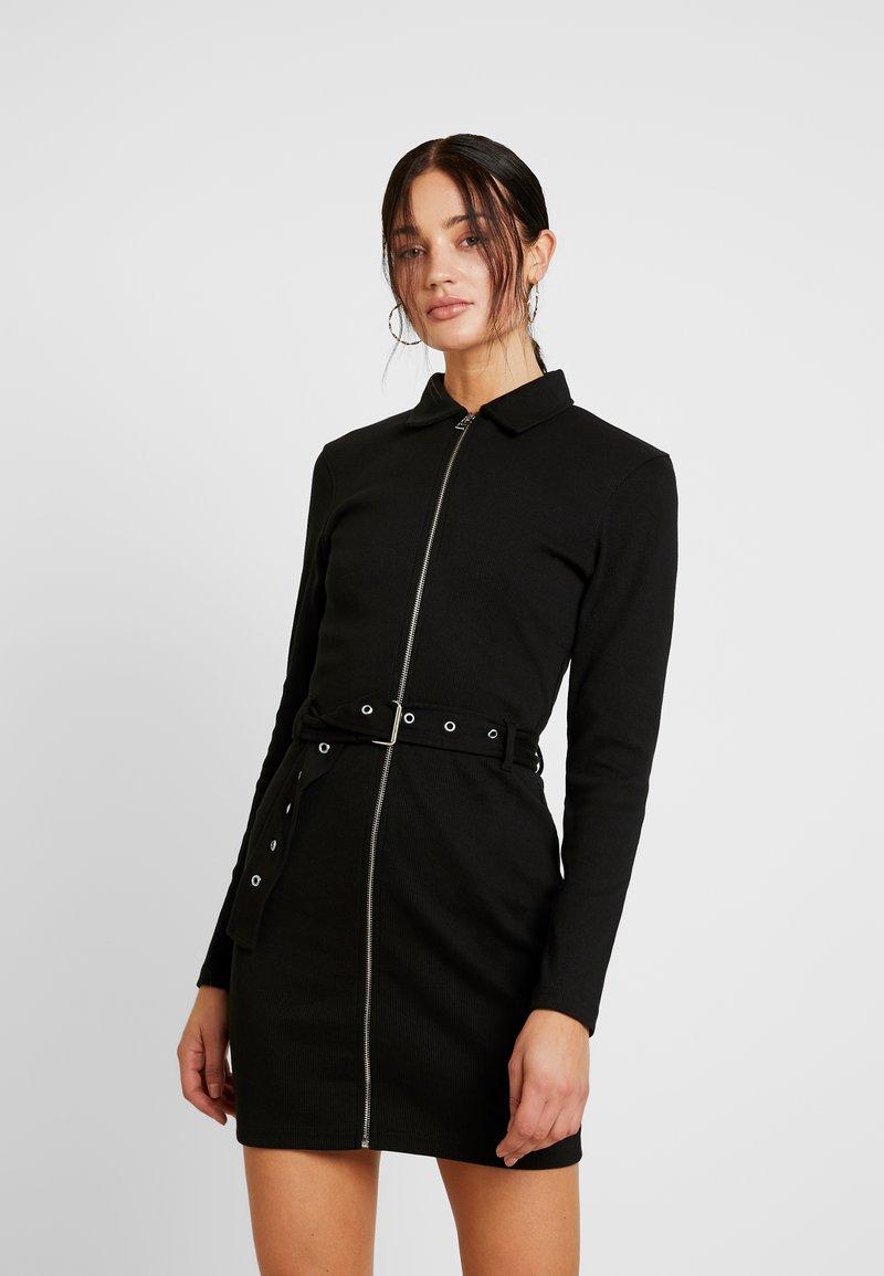 Missguided - POLO ZIP FRONT MINI DRESS - Vestido de tubo - black
