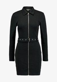 Missguided - POLO ZIP FRONT MINI DRESS - Vestido de tubo - black - 5