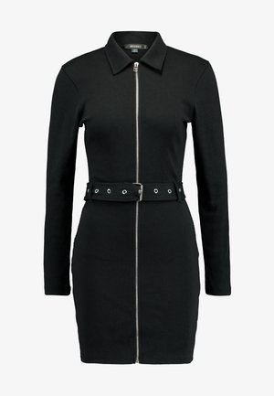 POLO ZIP FRONT MINI DRESS - Kotelomekko - black