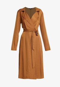 Missguided - PLUNGE BELTED SLIT FRONT MIDI DRESS - Robe chemise - sand - 5