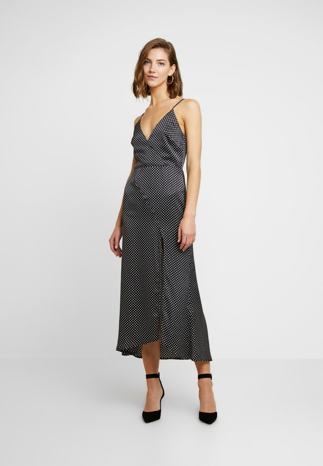POLKA DOT WRAP MIDI DRESS WITH SPLIT - Vestito estivo - black