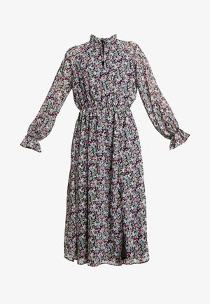 FLORAL TIE FRONT KEYHOLE MIDI DRESS - Day dress - black
