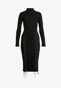 Missguided - HIGH NECK EYELET MIDAXI DRESS - Fodralklänning - black - 5
