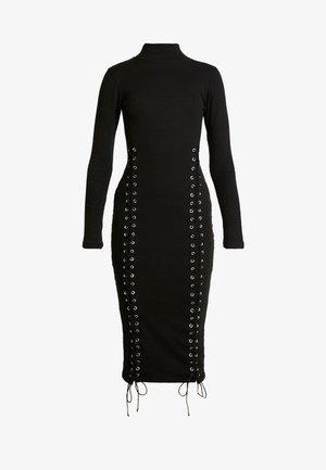 HIGH NECK EYELET MIDAXI DRESS - Kotelomekko - black