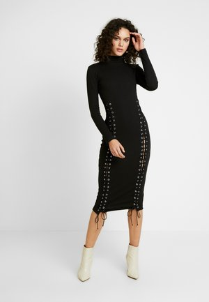 HIGH NECK EYELET MIDAXI DRESS - Shift dress - black
