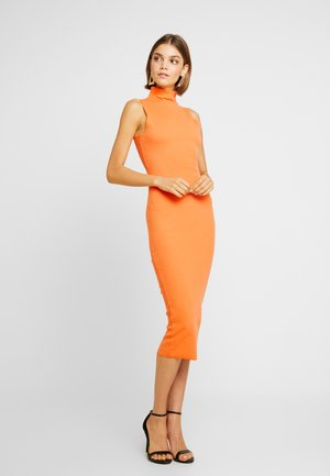 JORDAN LIPSCOMBE HIGH NECK RIB SLEEVLESS MIDAXI DRESS - Jersey dress - orange