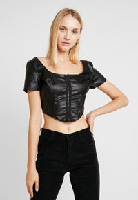 Missguided - JORDAN LIPSCOMBE PU MILKMAID TOP HOOK & EYE - Blus - black - 0