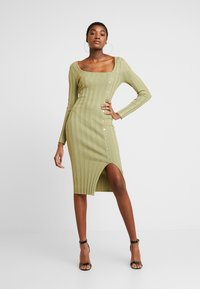 Missguided - NECK MIDI DRESS WITH BUTTON SIDE DETAIL - Robe fourreau - green - 0