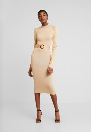 PUFF SLEEVE BELTED MIDAXI DRESS - Jumper dress - nude