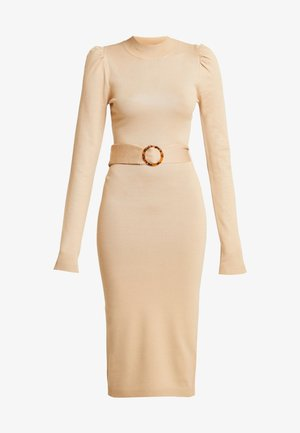 PUFF SLEEVE BELTED MIDAXI DRESS - Pletené šaty - nude