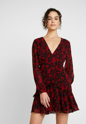 FLORAL PLUNGE WRAP MINI DRESS - Vardagsklänning - red