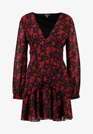 FLORAL PLUNGE WRAP MINI DRESS - Robe d'été - red