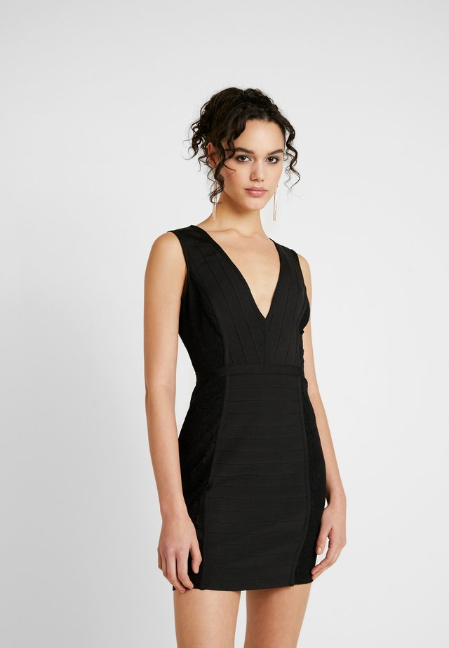 PLUNGE BANDAGE PANELLED BODYCON DRESS - Day dress - black