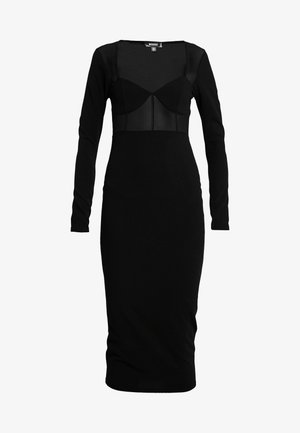 PANELLED SQUARE NECK BODYCON DRESS - Freizeitkleid - black