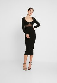Missguided - PANELLED SQUARE NECK BODYCON DRESS - Day dress - black - 2