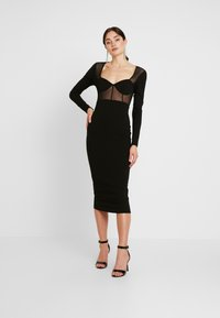 Missguided - PANELLED SQUARE NECK BODYCON DRESS - Day dress - black - 0