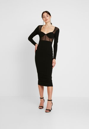 PANELLED SQUARE NECK BODYCON DRESS - Denní šaty - black