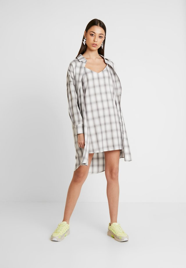 OVERSIZED CHECK  AND CAMI DRESS 2 in 1 - Day dress - cream