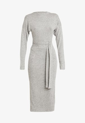 BRUSHED HIGH NECK BELTED MIDI DRESS - Tubino - grey