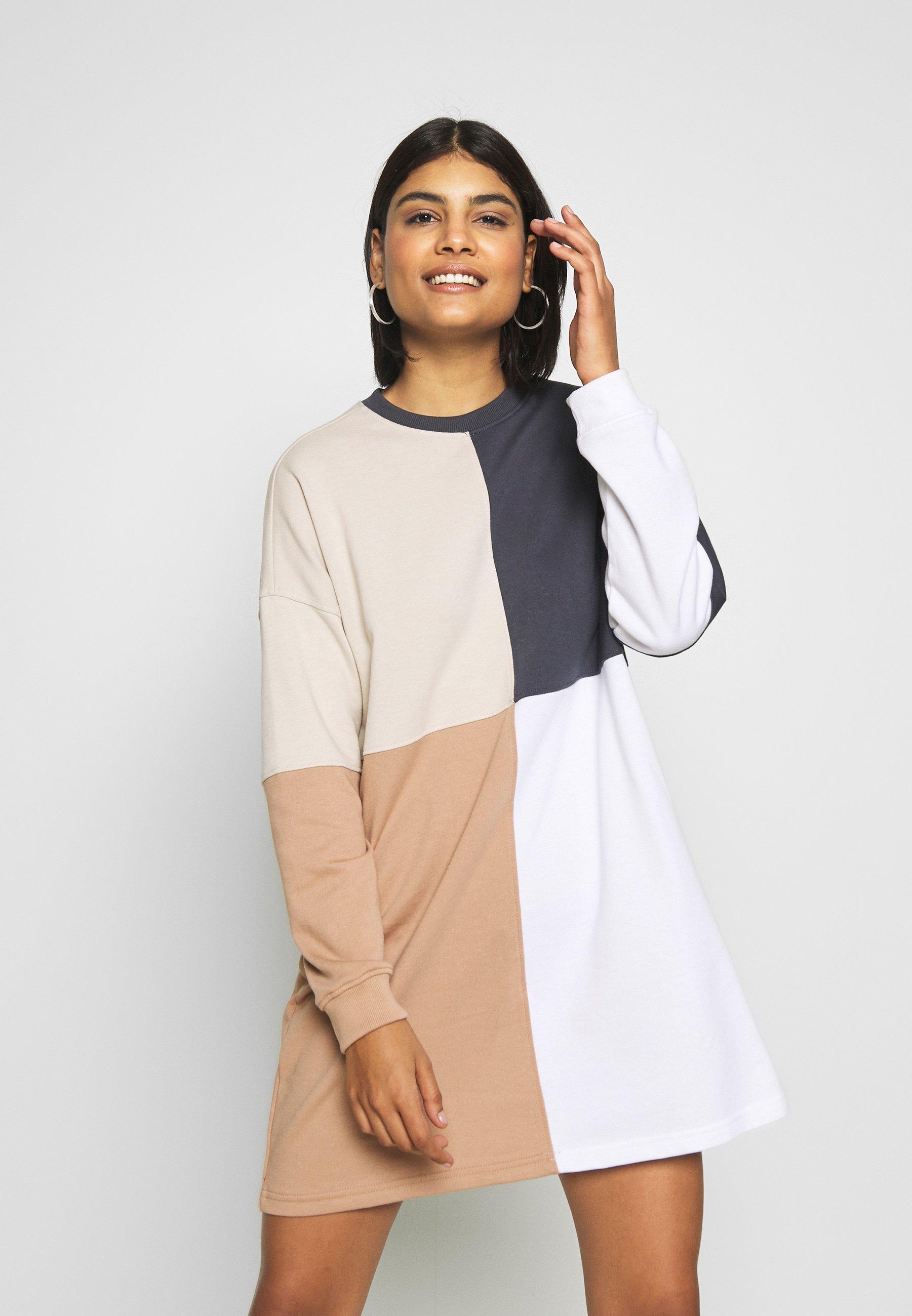 Missguided COLOUR BLOCK OVERSIZED DRESS - Sukienka letnia - beige