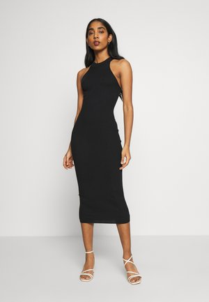 HIGH NECK BACK DETAIL MIDI DRESS - Pouzdrové šaty - black