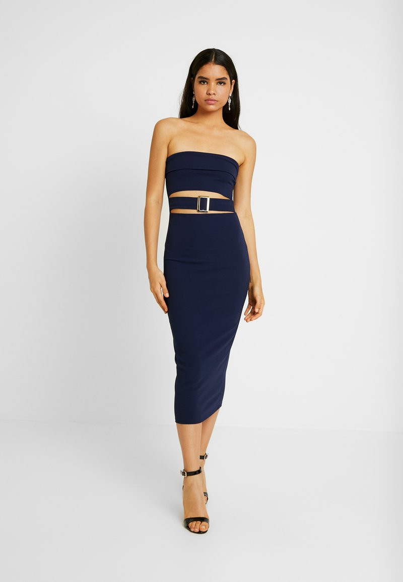 Missguided - CUT OUT BABDEAU BUCKLE MIDAXI DRESS - Etuikjole - navy