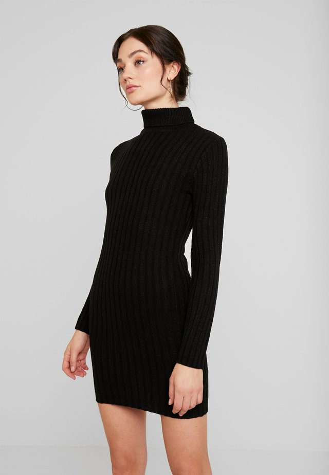 ROLL NECK RIBBED JUMPER DRESS - Shift dress - black
