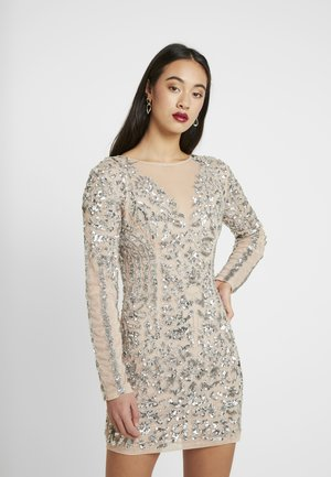EMBELLISHED ROUND NECK MINI DRESS - Vestito elegante - silver