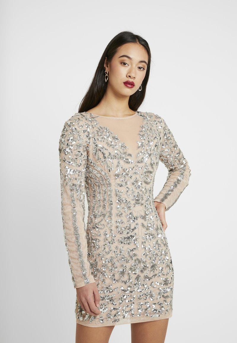 Missguided - EMBELLISHED ROUND NECK MINI DRESS - Vestito elegante - silver