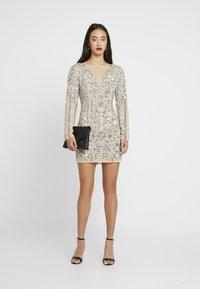 Missguided - EMBELLISHED ROUND NECK MINI DRESS - Vestito elegante - silver - 1