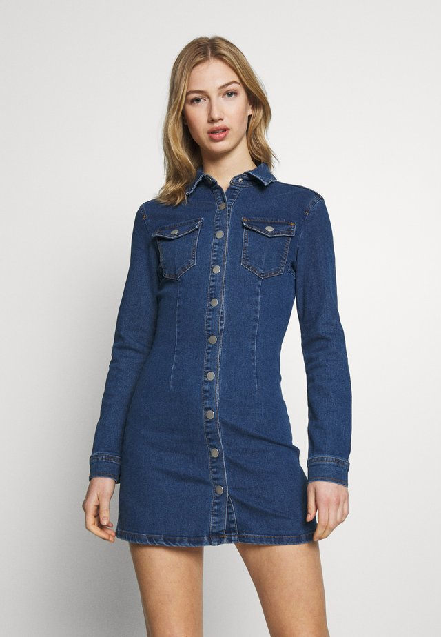 LONG SLEEVE BUTTON THROUGH DRESS - Denim dress - blue