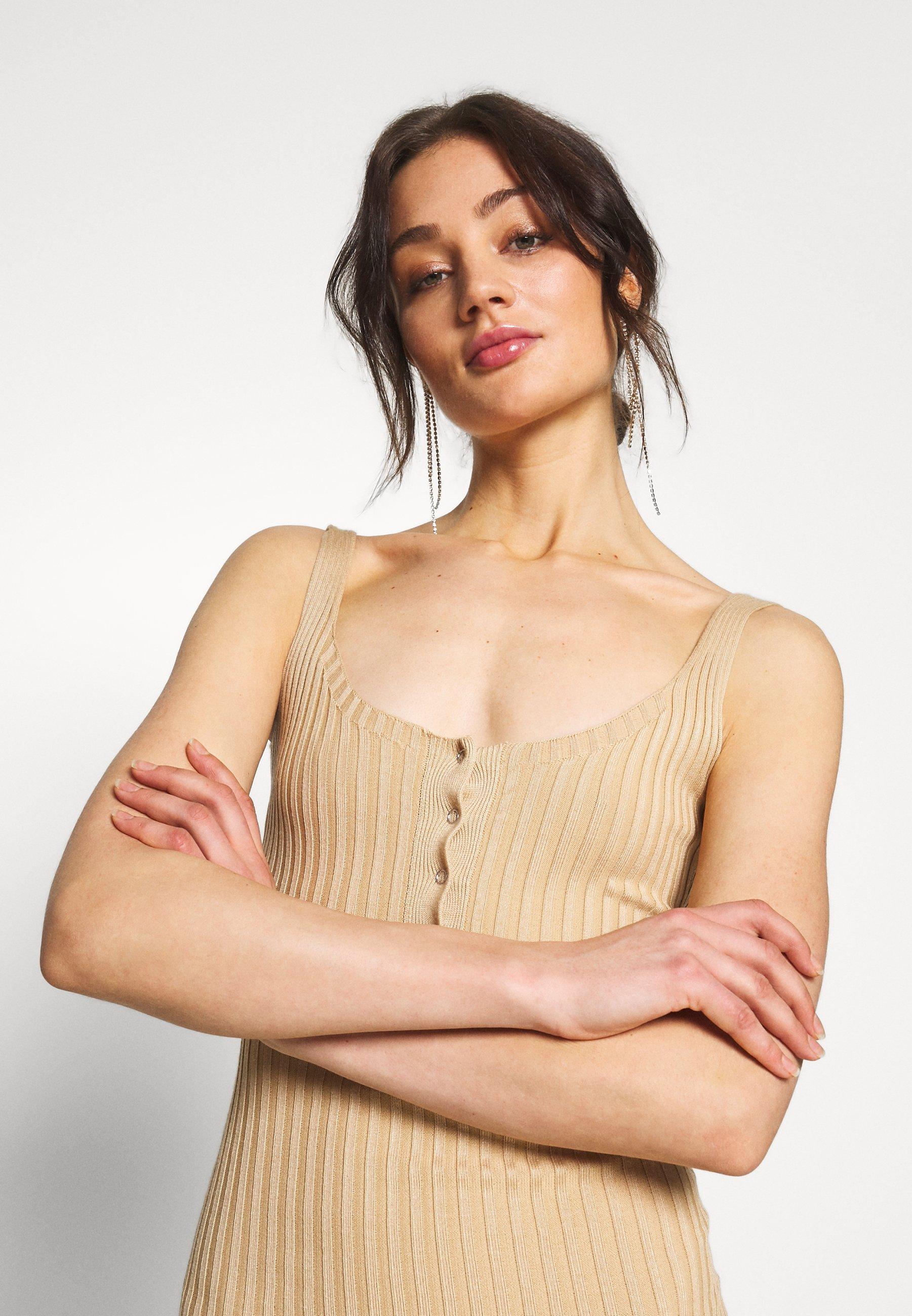 Missguided POPPER RIBBED KNITTED MIDAXI DRESS - Sukienka dzianinowa - camel