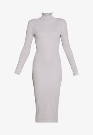 ROLL NECK MIDI DRESS - Strikket kjole - grey