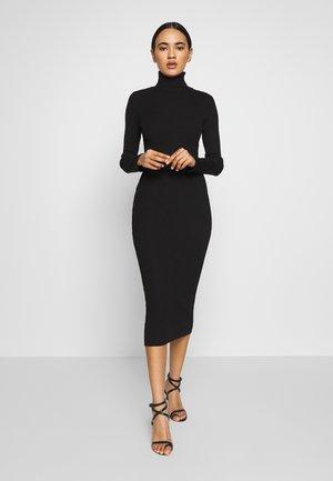 ROLL NECK RIBBED KNITTED MIDI DRESS - Gebreide jurk - black