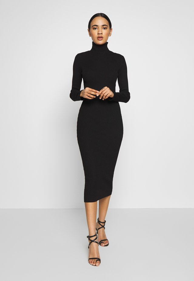 ROLL NECK RIBBED KNITTED MIDI DRESS - Gebreide jurk - black