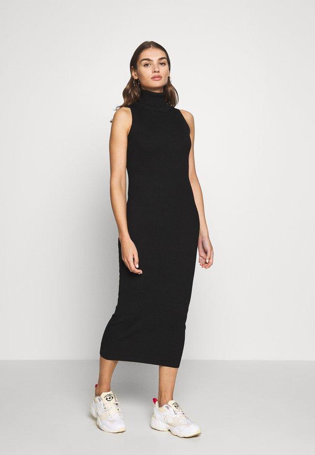 ROLL NECK SLEEVELESS MIDI DRESS - Gebreide jurk - black