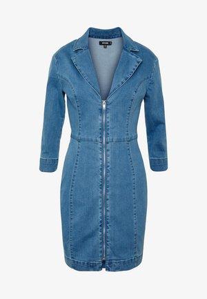 TAILORED ZIP FRONT DRESS - Vestido vaquero - blue