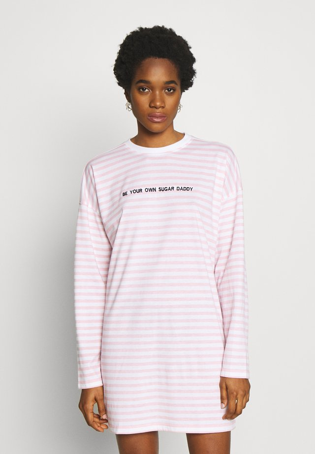 SLOGAN LONG SLEEVE SHIRT DRESS - Jersey dress - pink