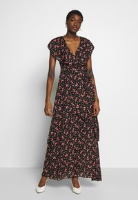Missguided - FLORAL PLUNGE WRAP RUFFLE HIGH LOW DRESS - Robe longue - black - 0