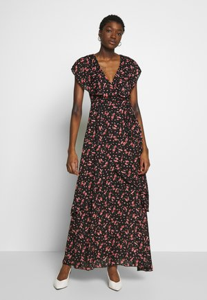 FLORAL PLUNGE WRAP RUFFLE HIGH LOW DRESS - Maxi-jurk - black